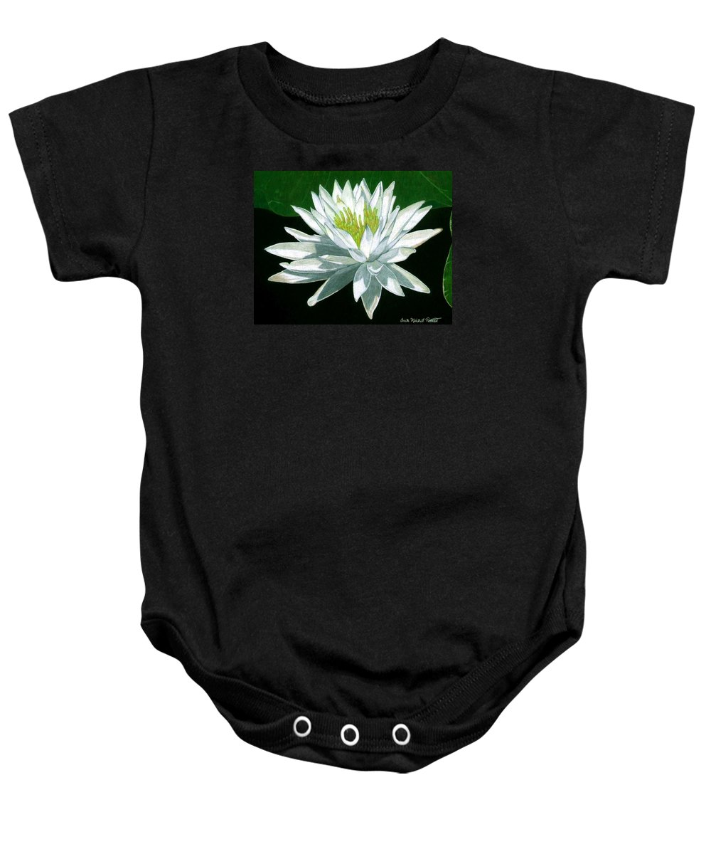 Lily Baby Onesie featuring the drawing Black Water Beauty by Anita Putman
