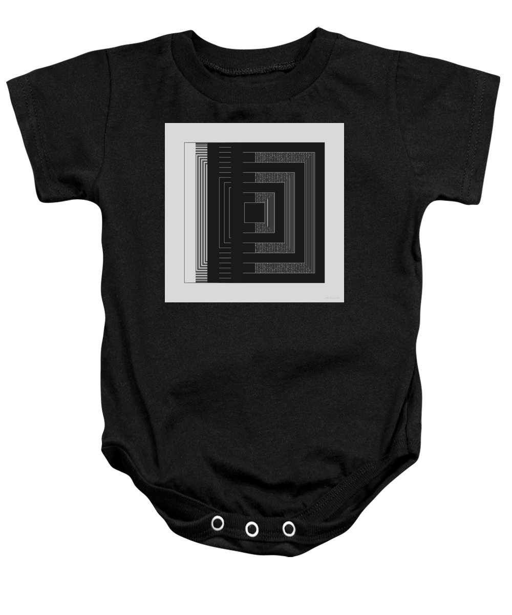 Geometric Baby Onesie featuring the digital art Black White Gray Square Geometric by Judi Suni Hall