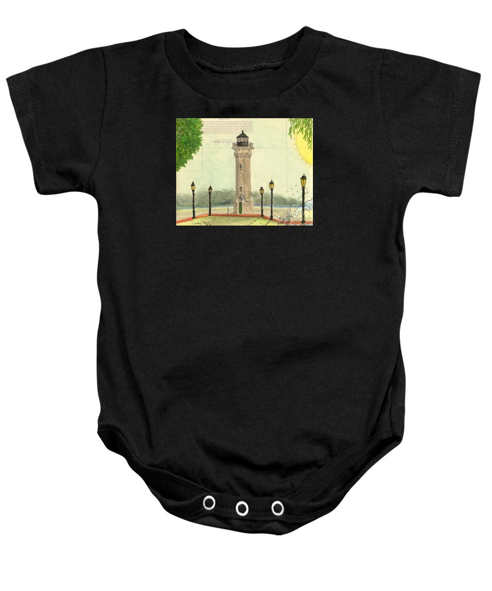 Blackwell Baby Onesie featuring the painting Blackwell Island Lighthouse Ny Chart Map Art by Cathy Peek