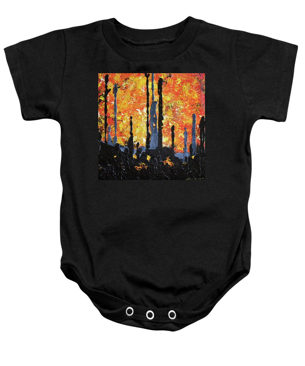Painting Baby Onesie featuring the painting Blaze by Elaine Booth-Kallweit