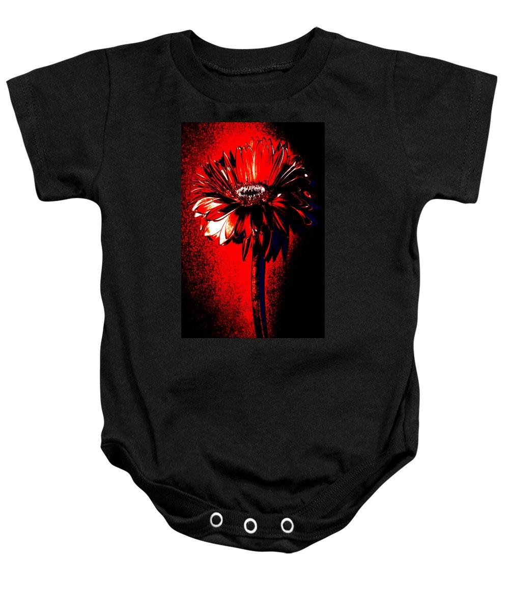 Original Photo Baby Onesie featuring the photograph Bloody Mary Zinnia by Sherry Allen