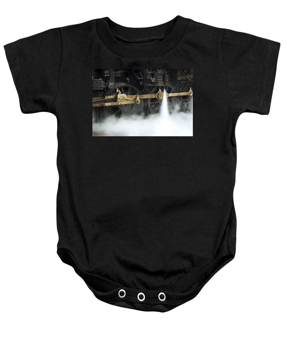 Railroad Baby Onesie featuring the photograph Blowing Of Steam by Paul W Faust - Impressions of Light