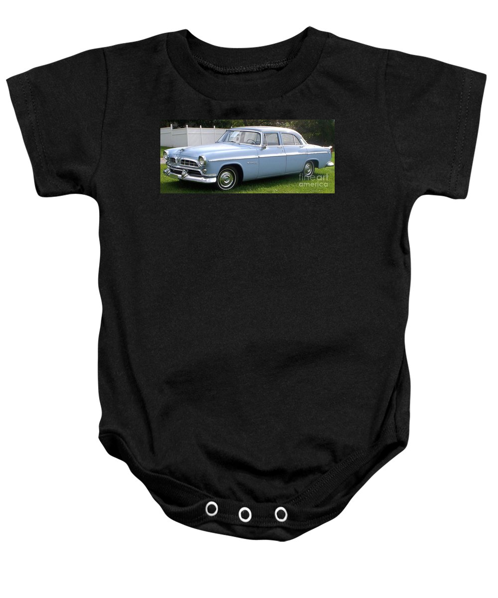 Blue Car Baby Onesie featuring the photograph Blue 1955-56 Chrysler by Eric Schiabor