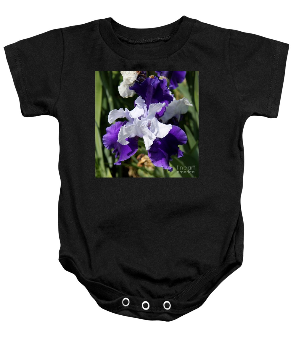 Blue Iris Baby Onesie featuring the photograph Blue And White Iris by Christiane Schulze Art And Photography