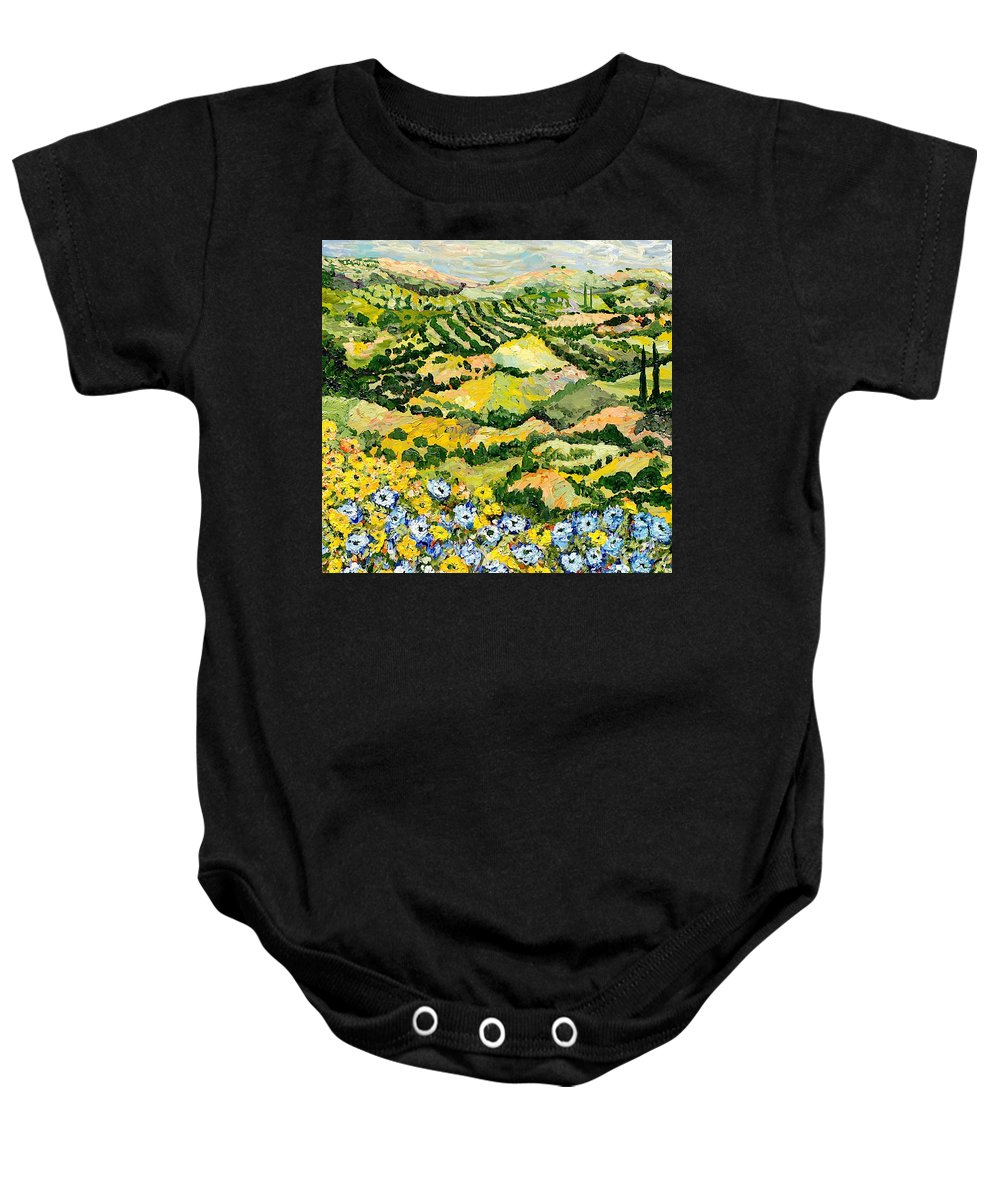 Landscape Baby Onesie featuring the painting Blue And Yellow by Allan P Friedlander