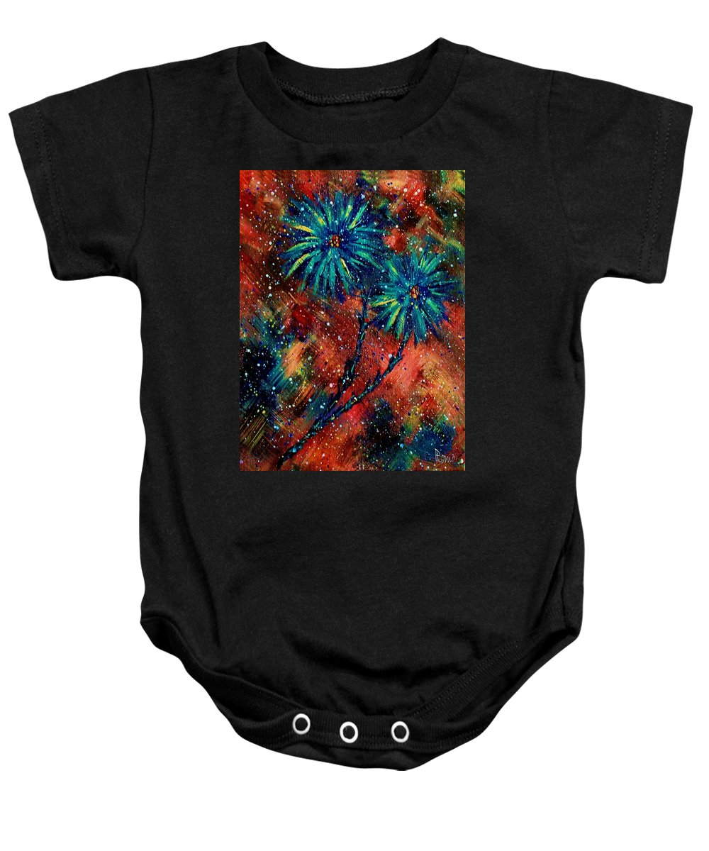 Flowers Baby Onesie featuring the painting Blue Asters by Robin Monroe