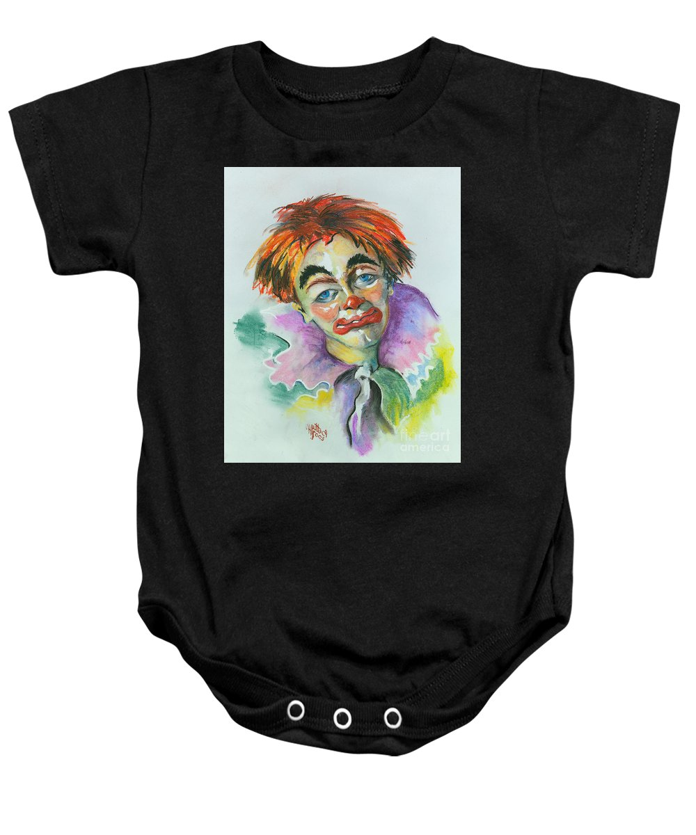 Canvas Print Baby Onesie featuring the painting Blue Eyes by Elisabeta Hermann