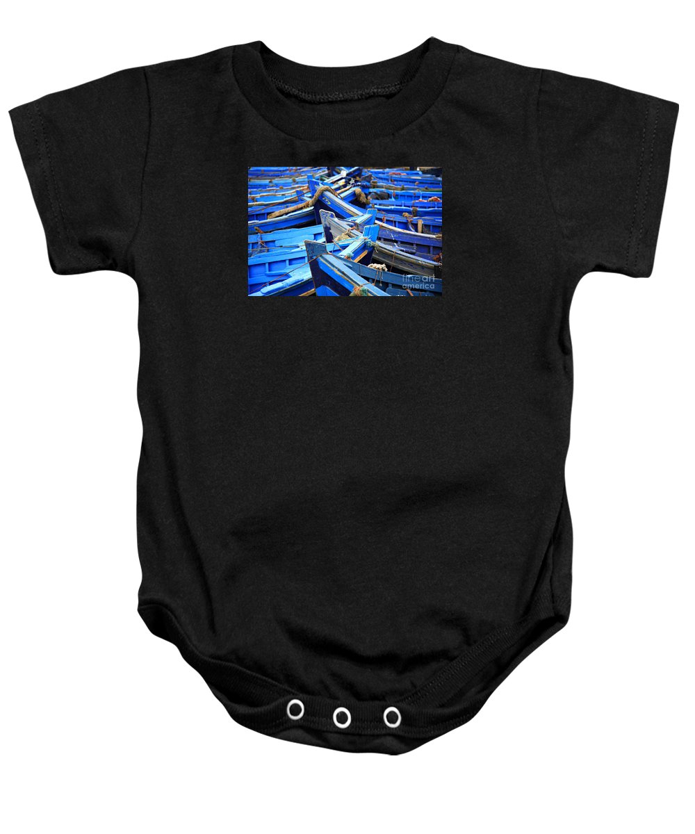 Africa Baby Onesie featuring the photograph Blue Fishing Boats by Deborah Benbrook