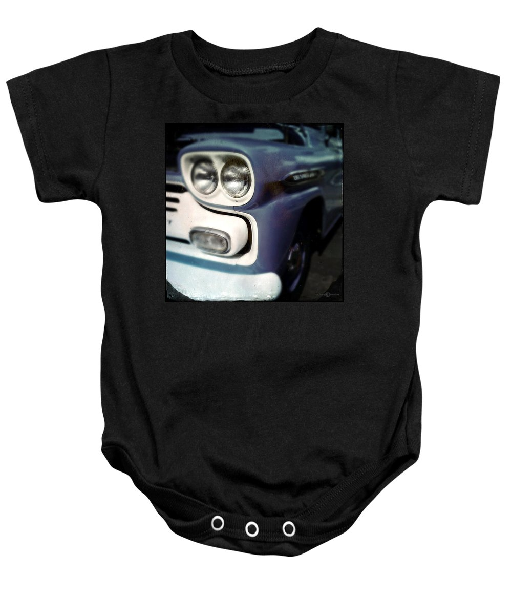 Classic Baby Onesie featuring the photograph Blue Ford Pickup by Tim Nyberg