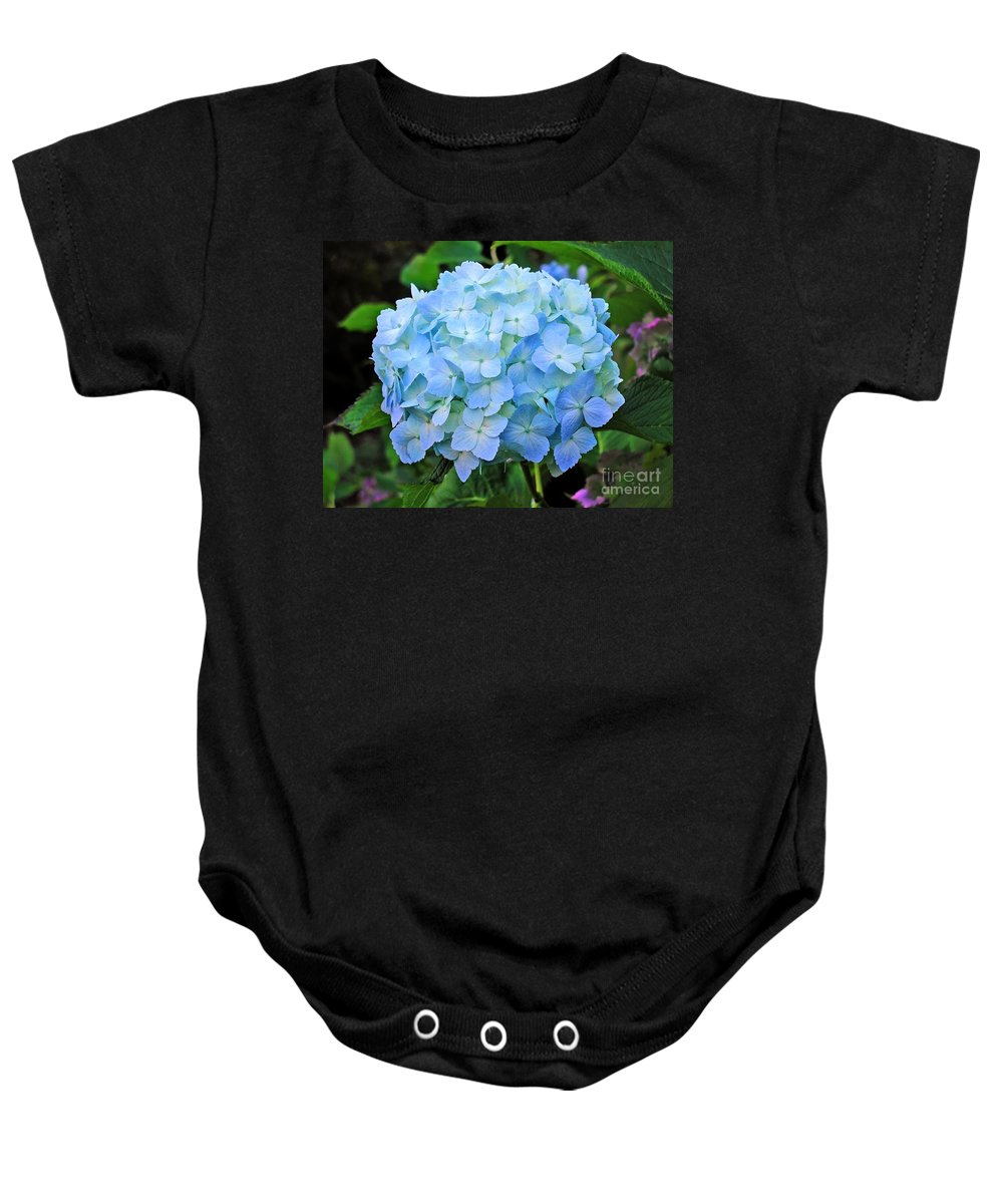 Flower Baby Onesie featuring the photograph Blue Hydrangea by Tap On Photo