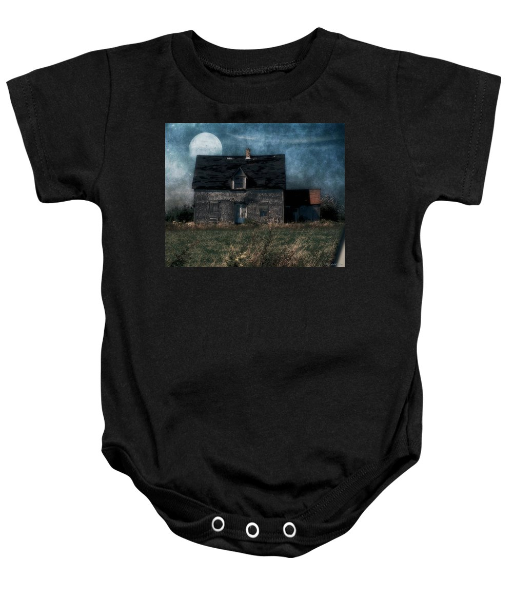 Farmhouse Baby Onesie featuring the painting Blue Moon Rising by RC DeWinter
