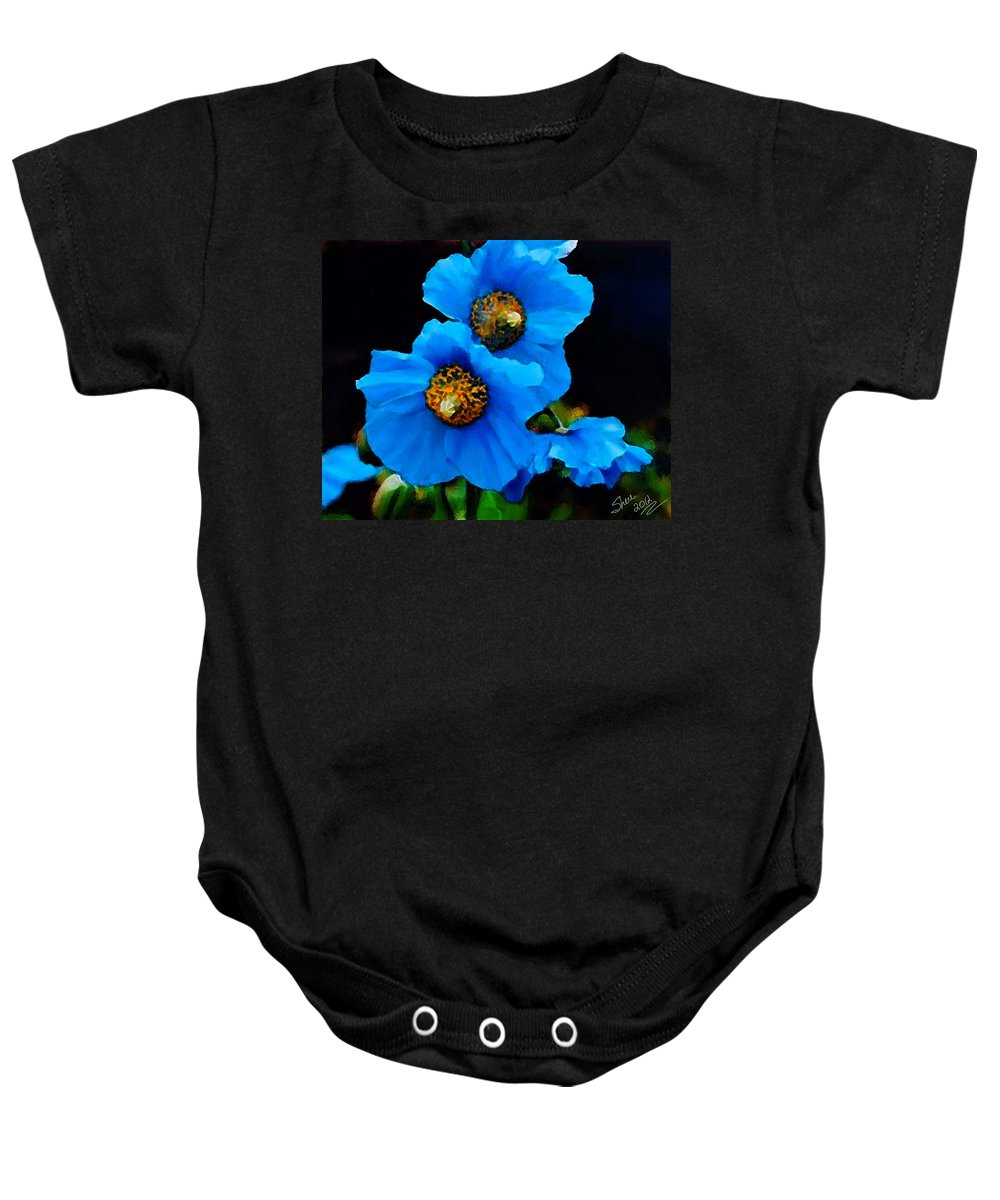 Blue Poppy Baby Onesie featuring the painting Blue Poppies by Shere Crossman