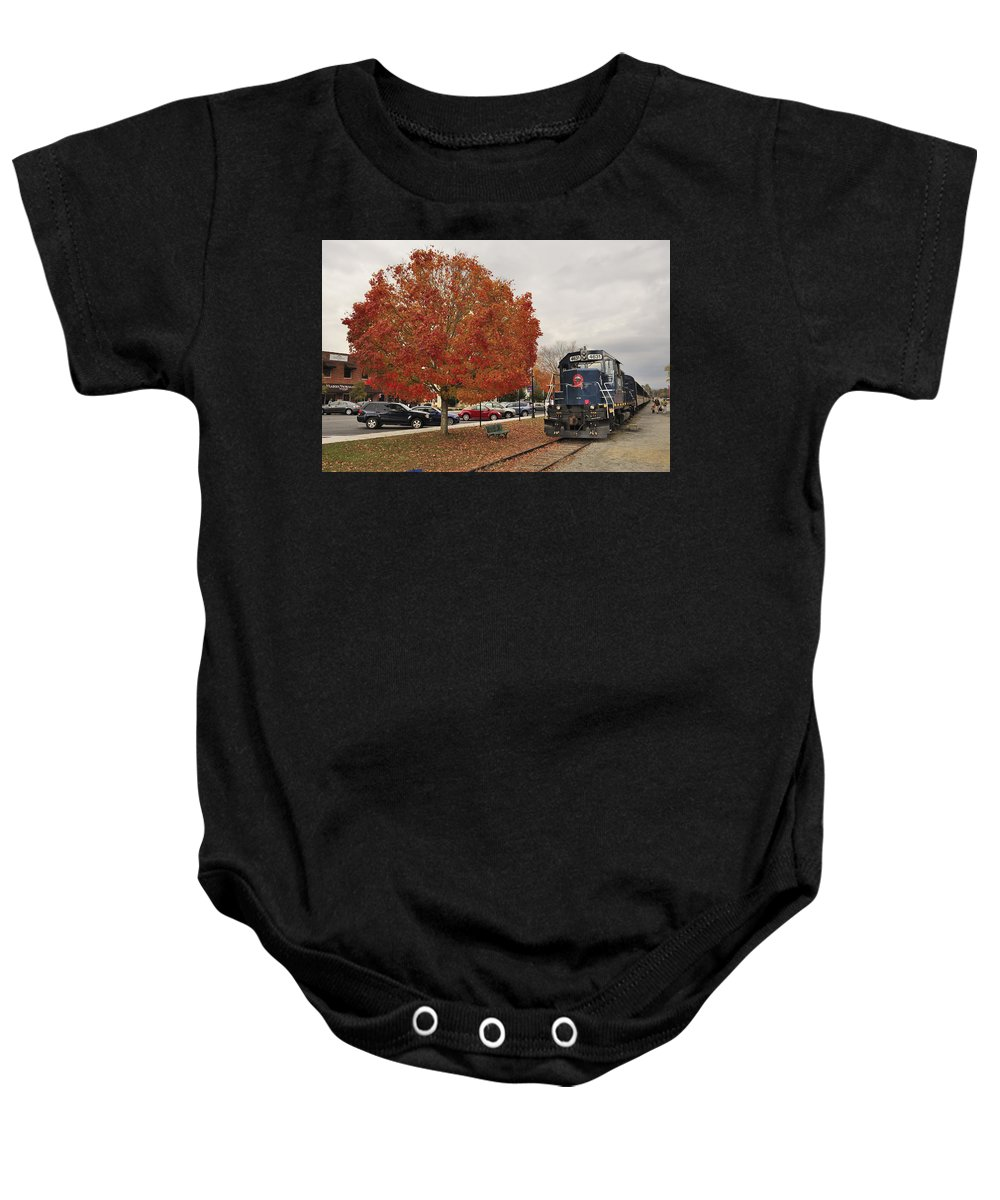 Blue Ridge Baby Onesie featuring the photograph Blue Ridge Train by Mike McGowan