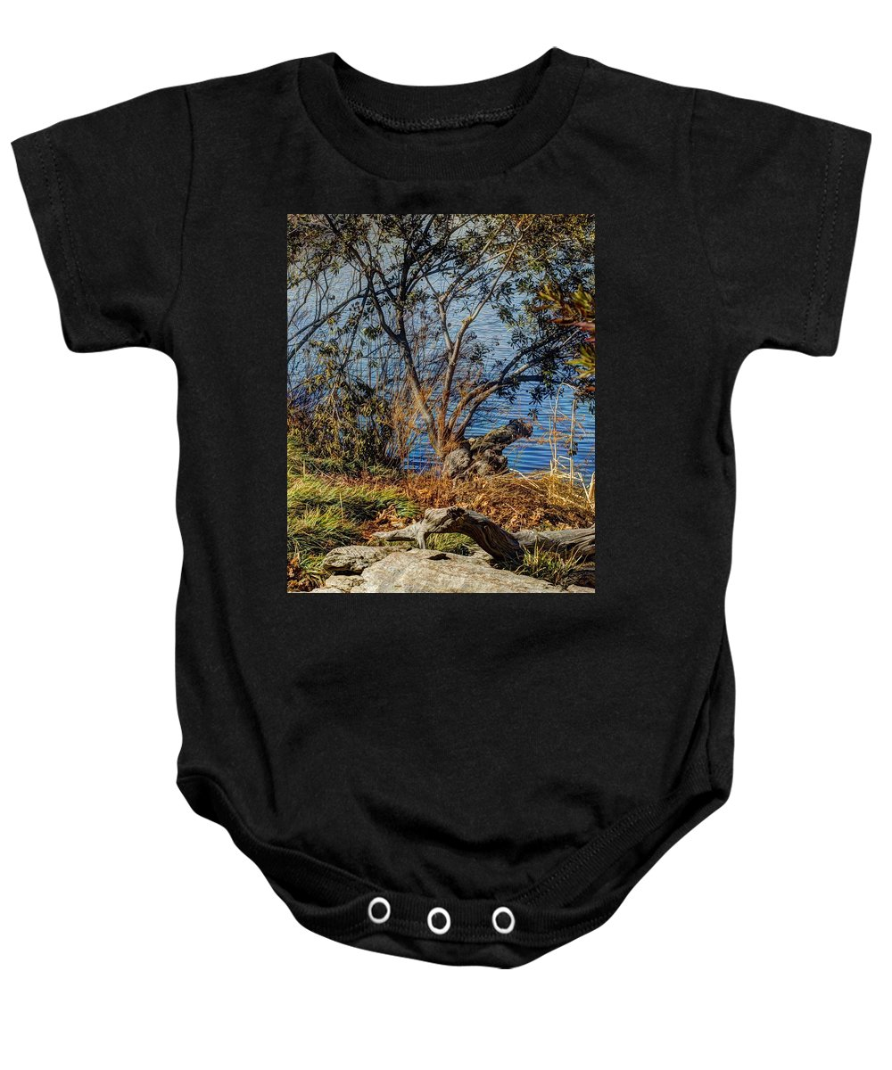 Hdr Baby Onesie featuring the photograph Blue Water 3 by John Straton