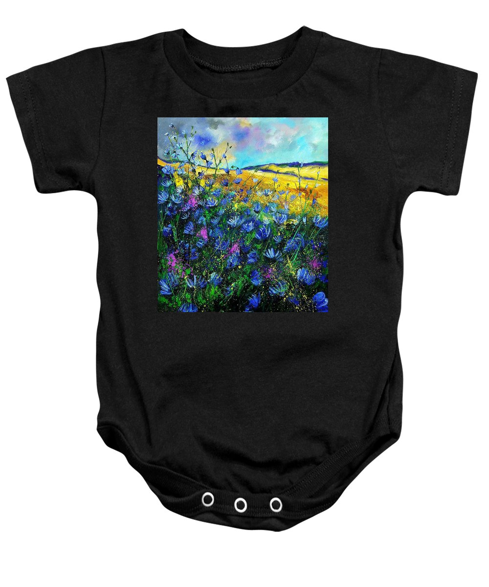 Flowers Baby Onesie featuring the painting Blue Wild Chicorees by Pol Ledent