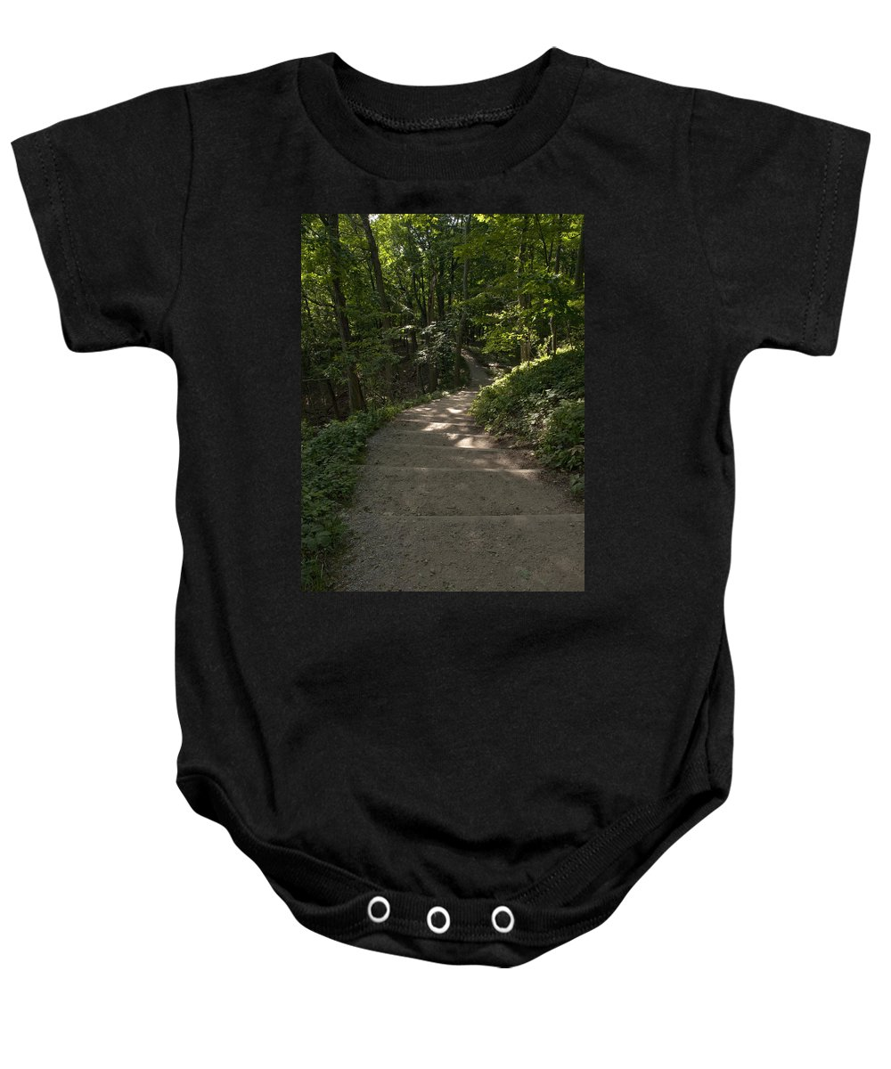 Bluff Trail Baby Onesie featuring the photograph Bluff Trail by Tara Lynn