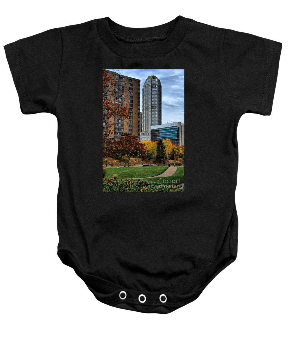 Bank Of New York Baby Onesie featuring the photograph Bny Mellon From Duquesne University Campus Hdr by Amy Cicconi