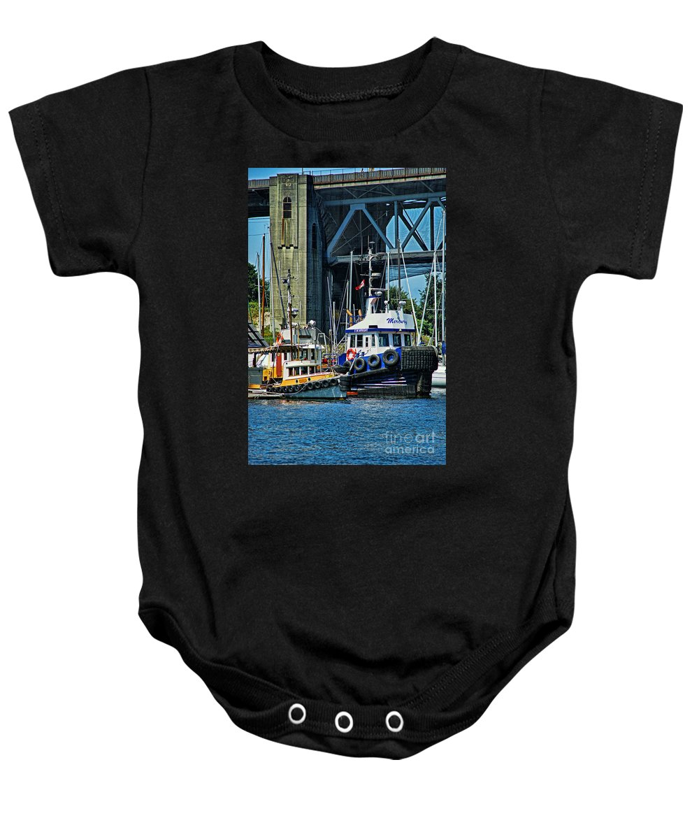 Boats Baby Onesie featuring the photograph Boats And Tugs Hdrbt3221-13 by Randy Harris