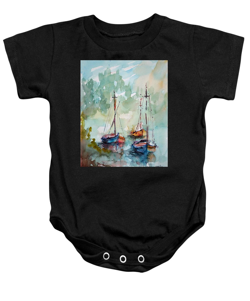 Boats Baby Onesie featuring the painting Boats On Lake by Faruk Koksal