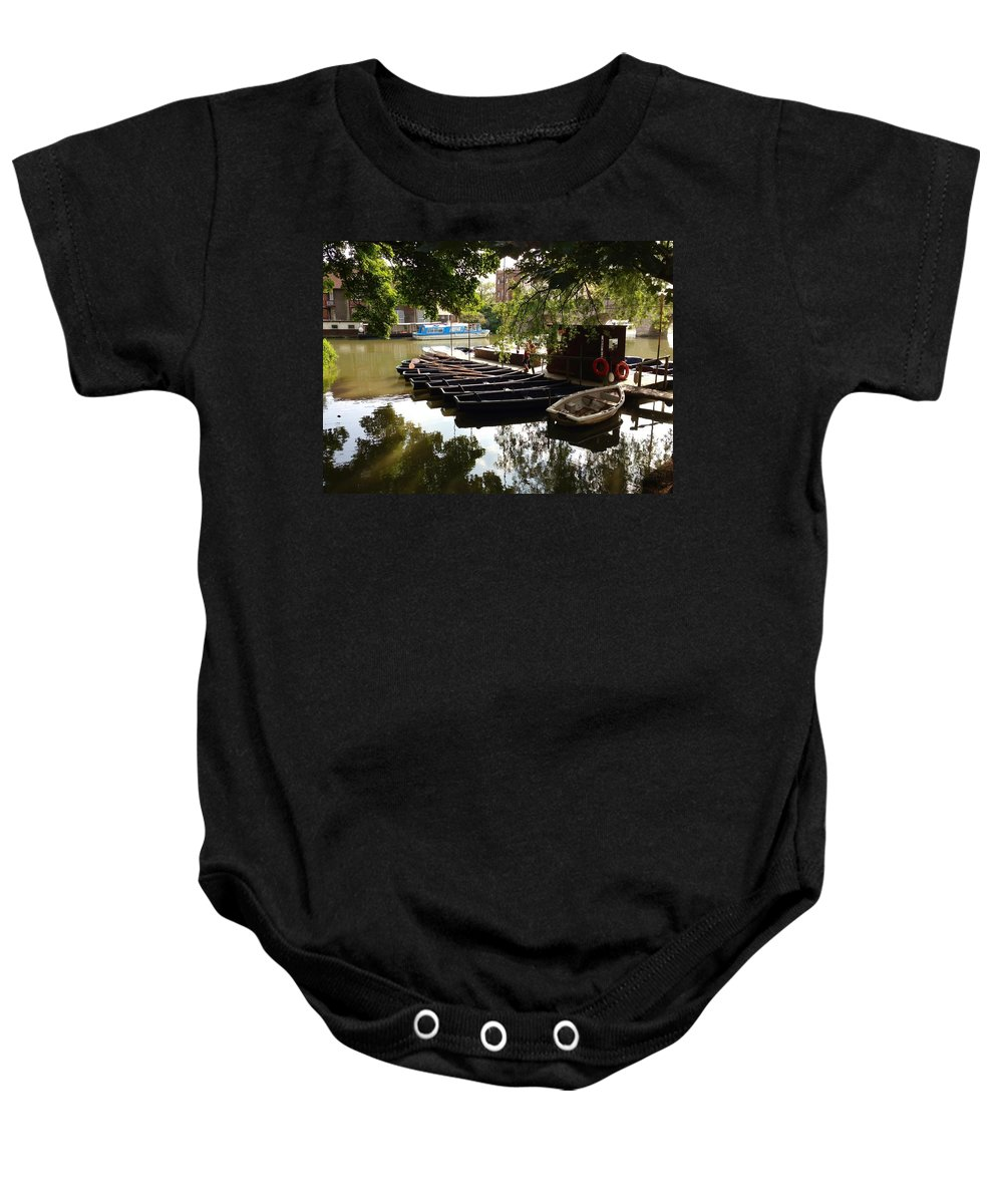 Thames River Baby Onesie featuring the photograph Boats On The Thames River Oxford England by Lois Ivancin Tavaf