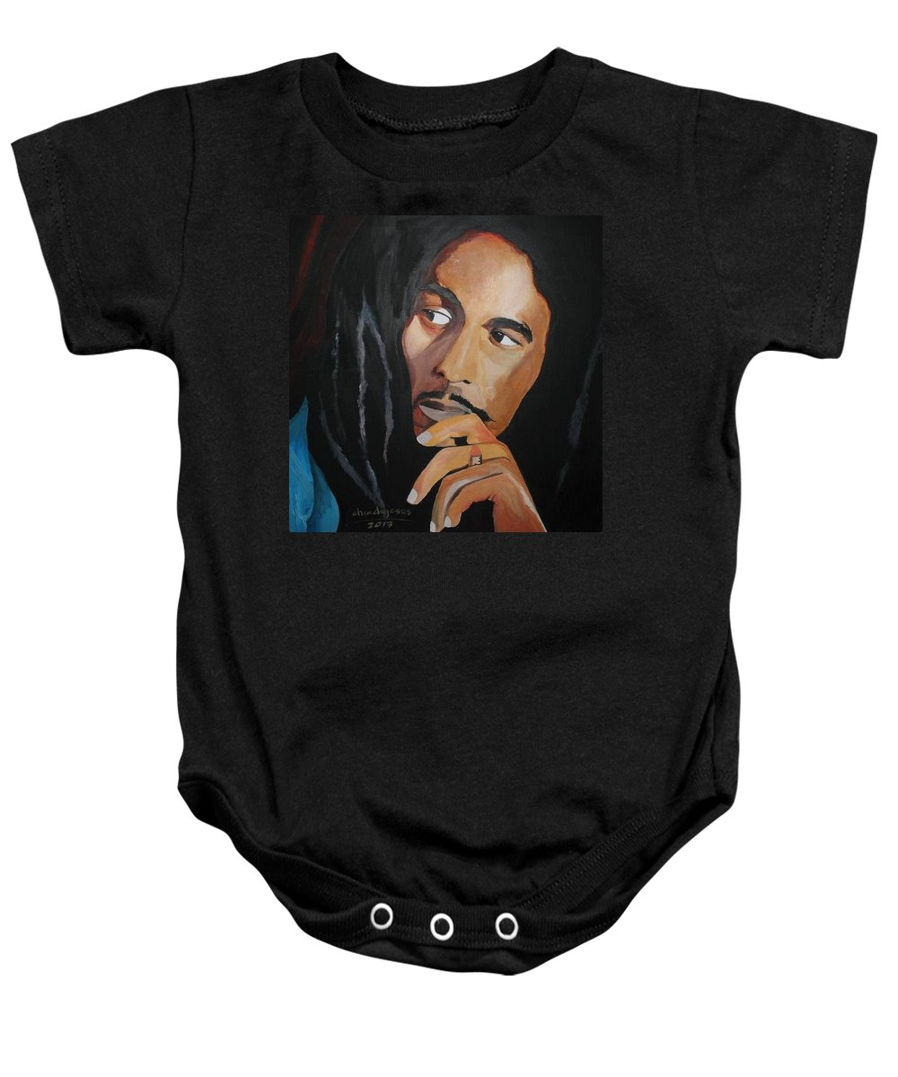 Artist: Bob Marley Baby Onesie featuring the painting Bob Marley by Hilda De Jesus