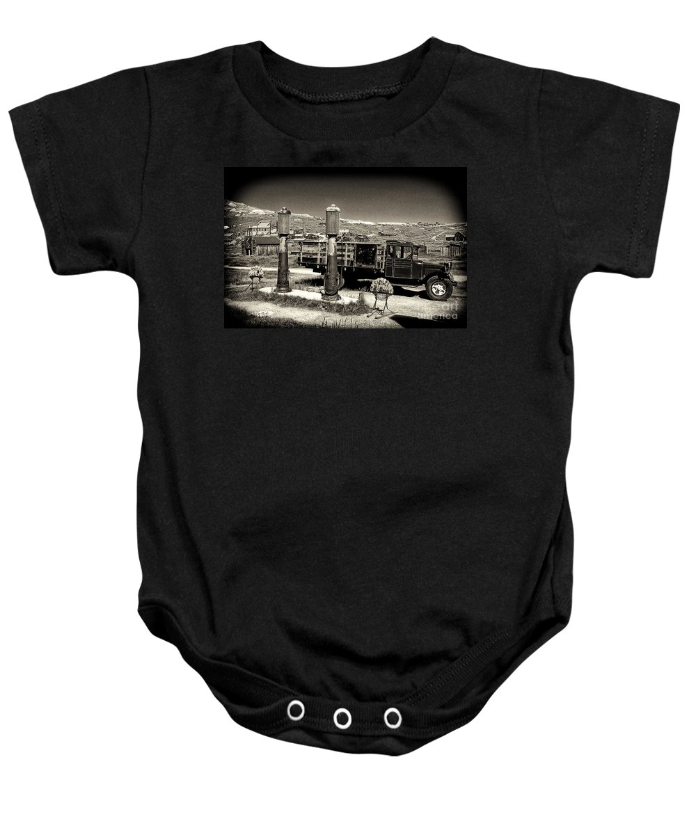 Bodie Baby Onesie featuring the photograph Bodie Gas Station by Paul W Faust - Impressions of Light