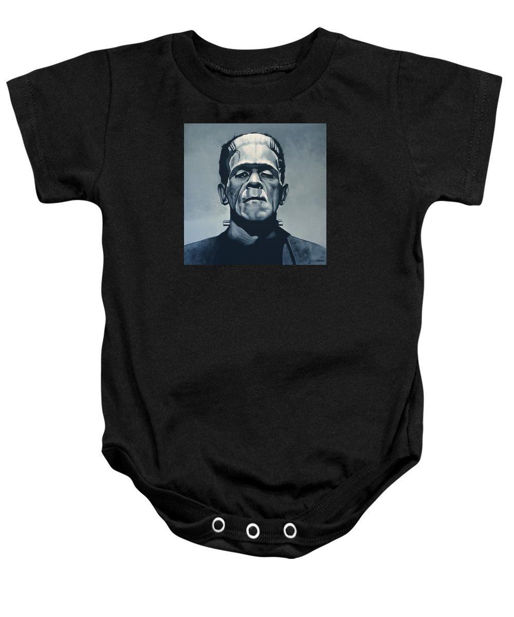 Frankenstein Baby Onesie featuring the painting Boris Karloff As Frankenstein by Paul Meijering
