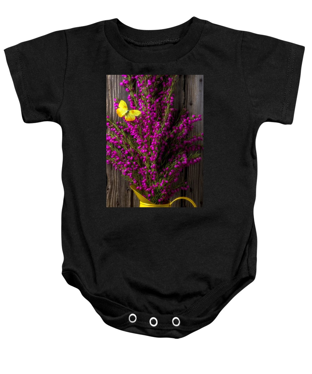 Boronia Baby Onesie featuring the photograph Boronia With Yellow Butterfly by Garry Gay