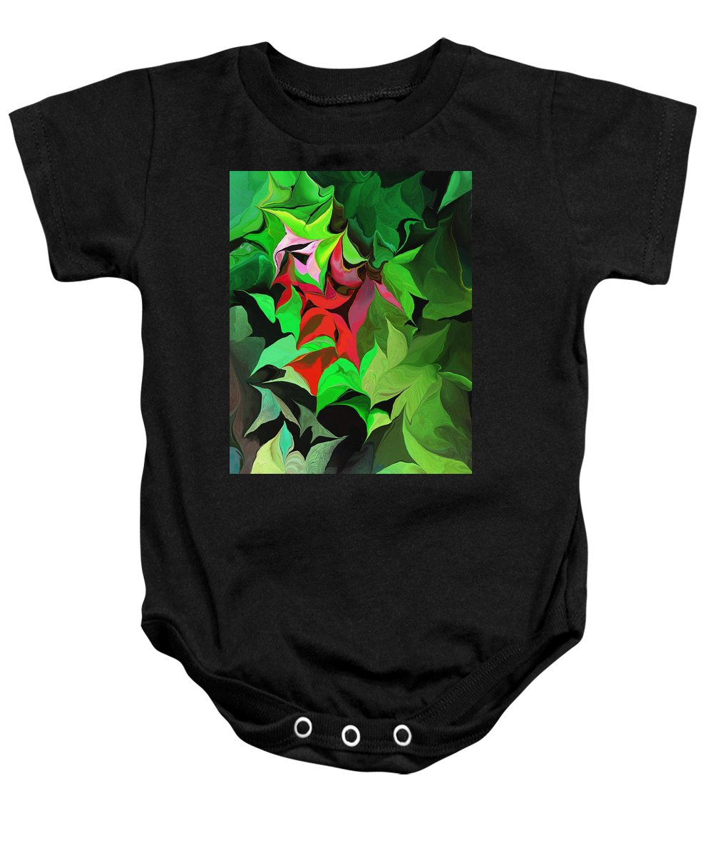 Abstract Baby Onesie featuring the digital art Botanical Fantasy 071613 by David Lane