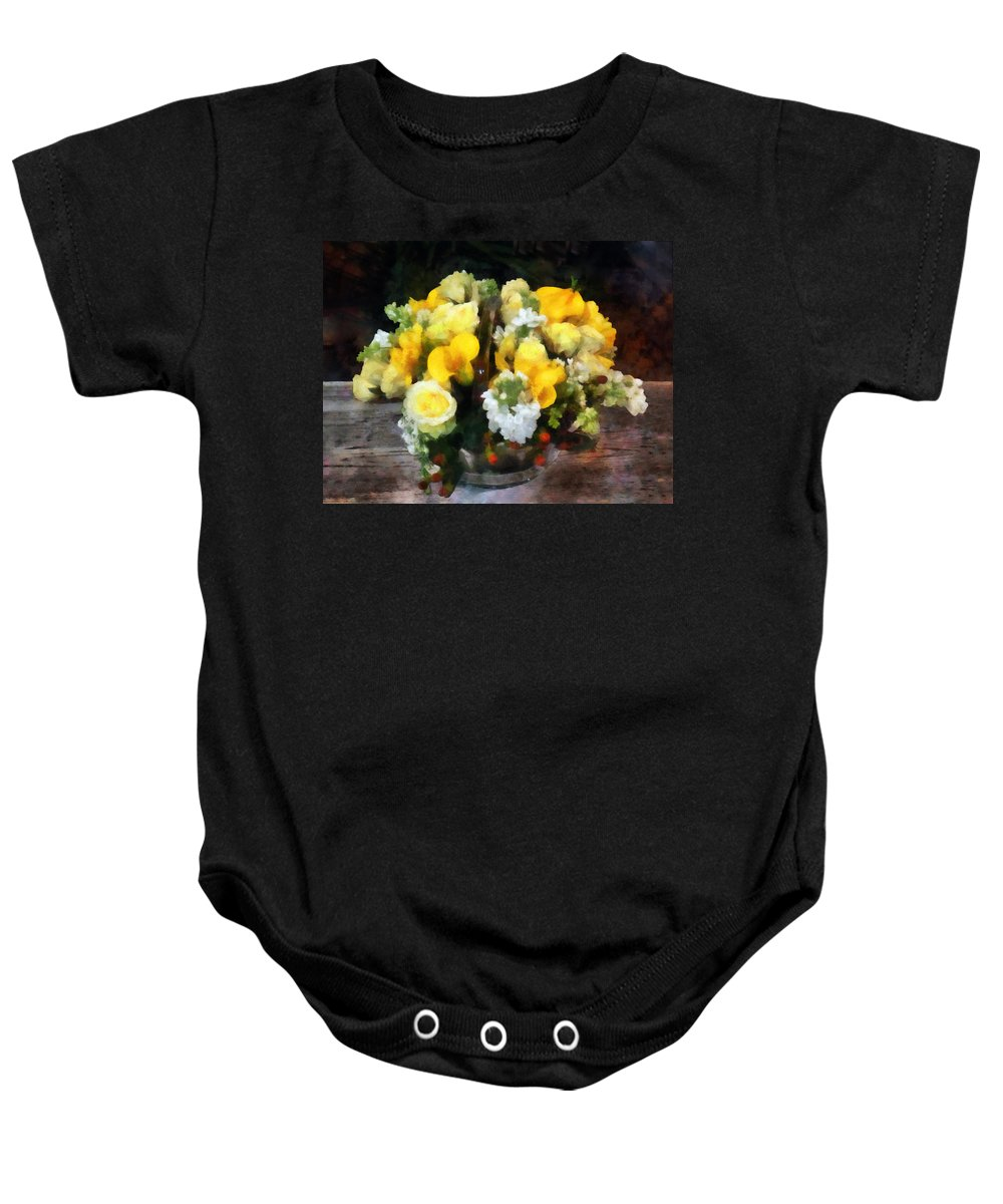 Bouquet Baby Onesie featuring the photograph Bouquet With Roses And Calla Lilies by Susan Savad