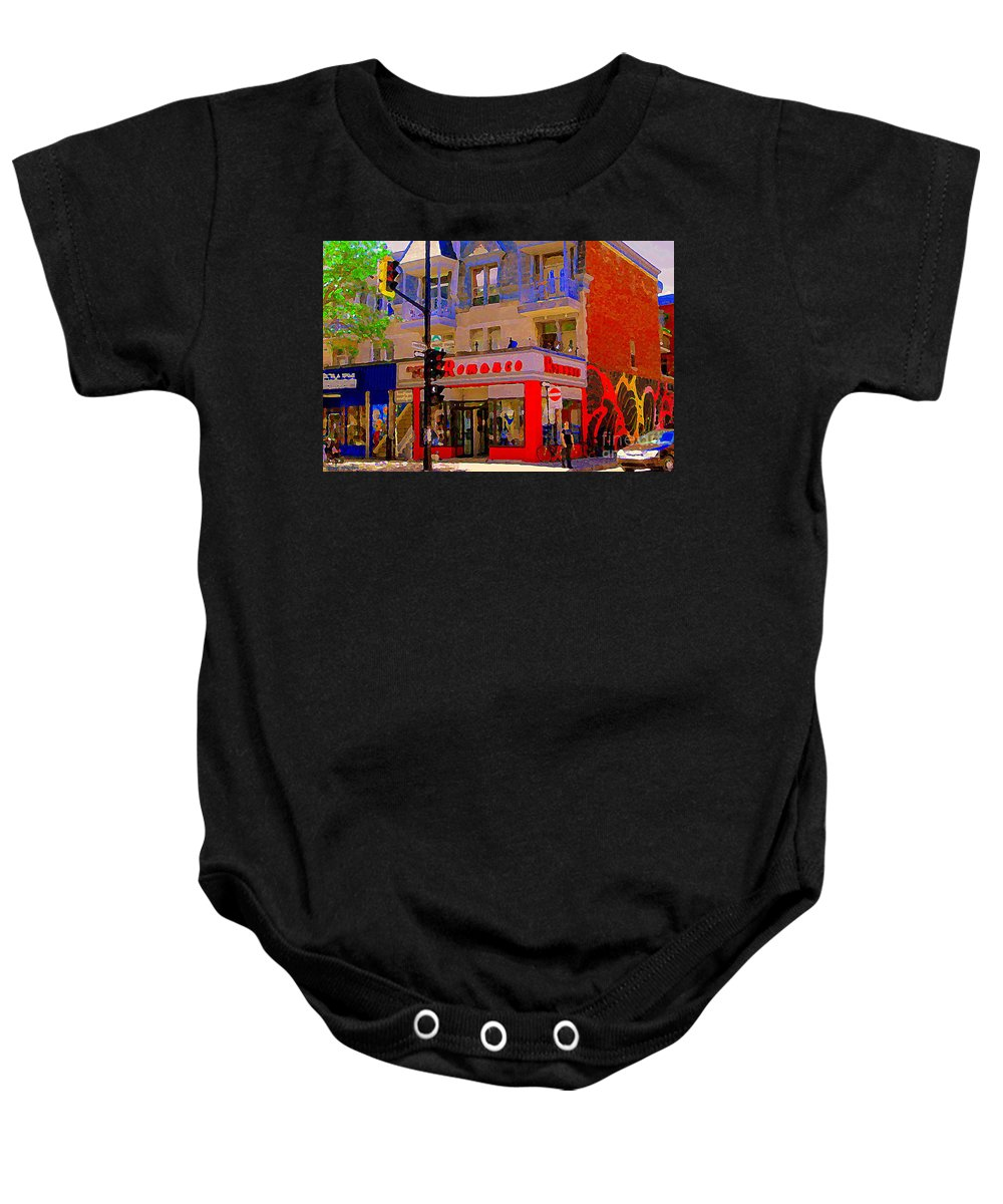 Boutique Erotique Romance Baby Onesie featuring the painting Boutique Erotique Romance Mont Royal The Love You Make Is Equal To The Love You Take City Scene Art by Carole Spandau