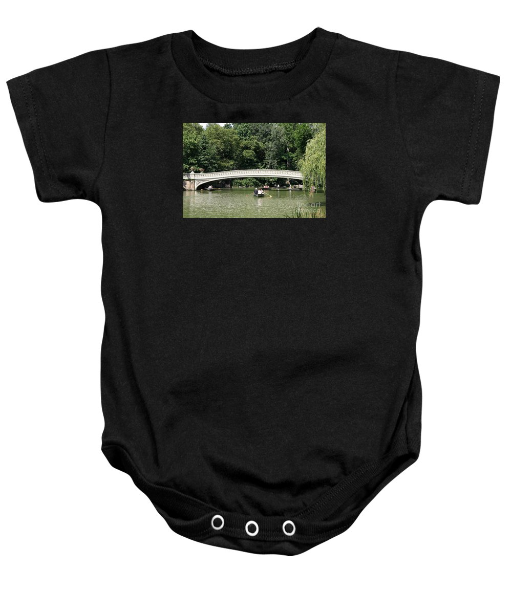 Bow Bridge Baby Onesie featuring the photograph Bow Bridge And Row Boats by Christiane Schulze Art And Photography
