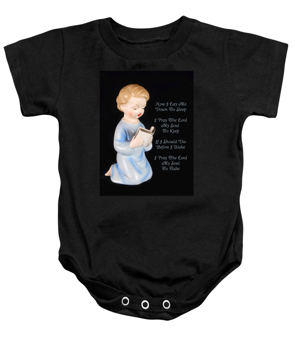 Now I Lay Me Down To Sleep Baby Onesie featuring the photograph Boy Childs Bedtime Prayer by Kathy Clark