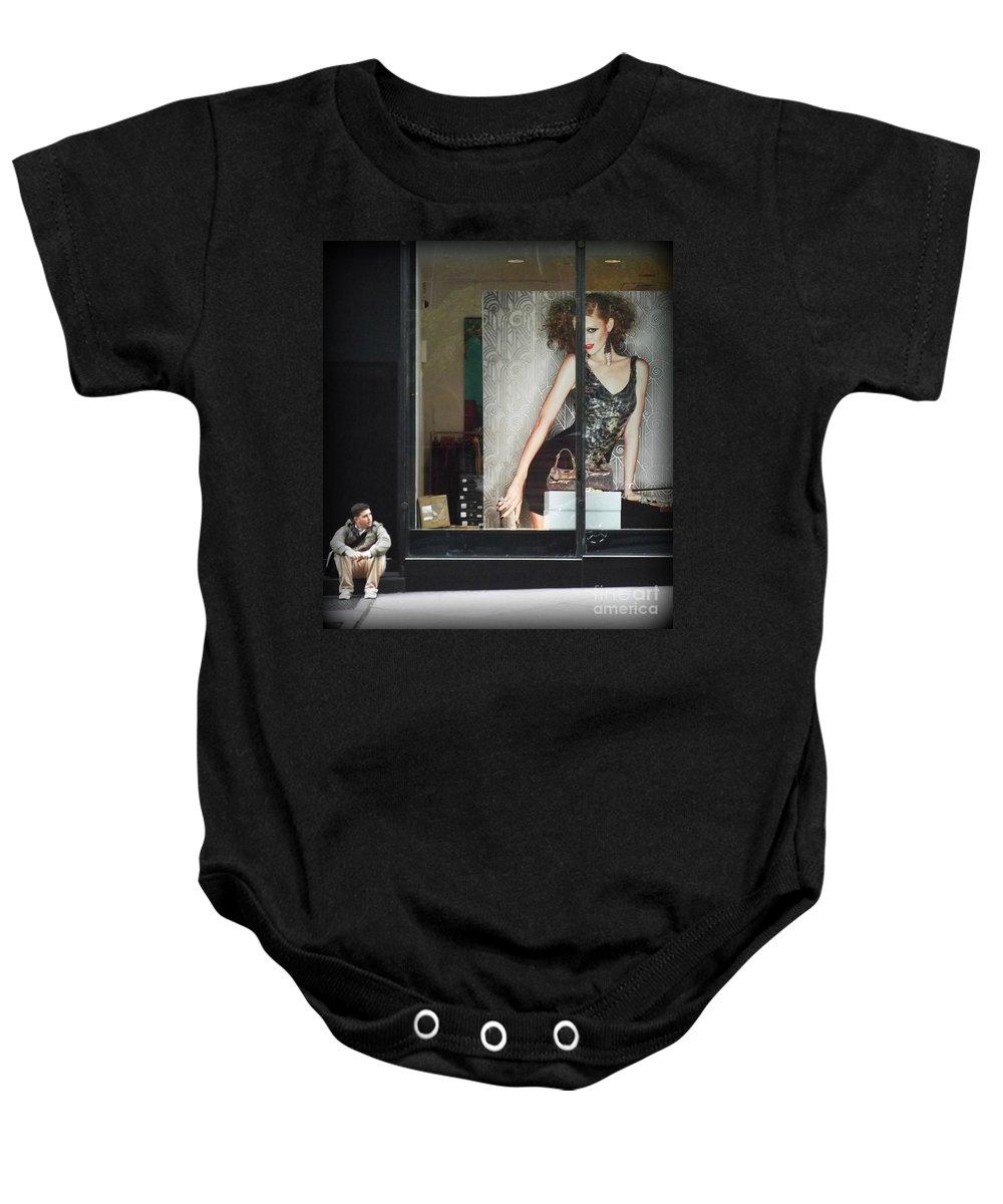 New York Baby Onesie featuring the photograph Boy Meets Girl by Miriam Danar