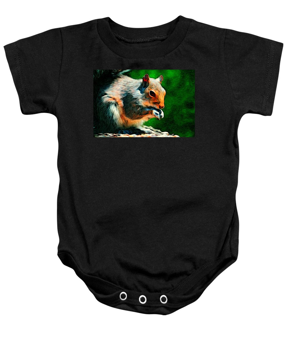 Squirrel Baby Onesie featuring the digital art Brazen And Unrepentant by William Sargent