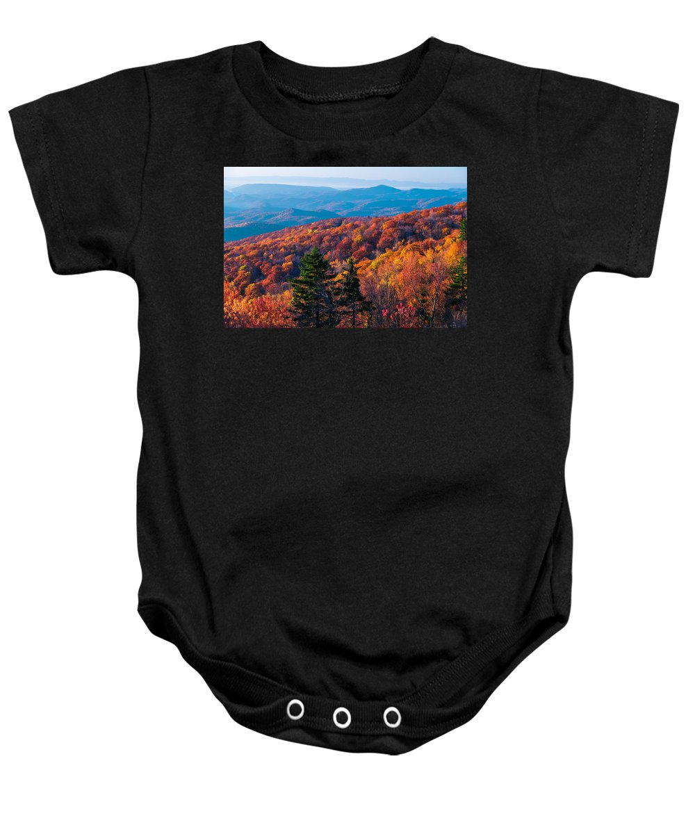 Landscape Baby Onesie featuring the photograph Breathtaking Color On The Blue Ridge  by Lynn Bauer