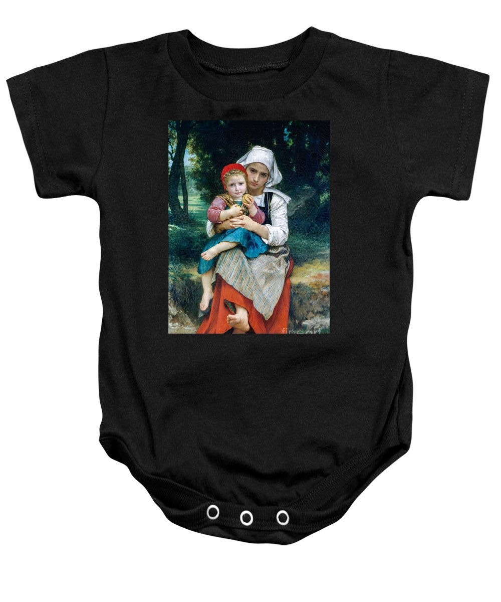 Brother Baby Onesie featuring the painting Breton Brother And Sister by Viktor Birkus