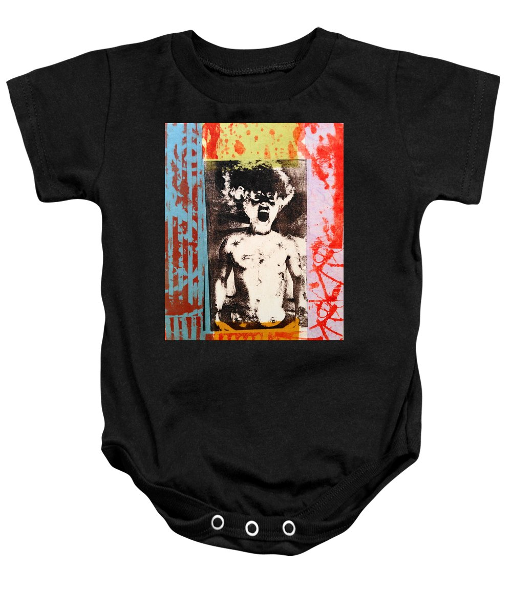 Gay Male Art Baby Onesie featuring the mixed media Bride Of Frankenstein by Carmine Santaniello