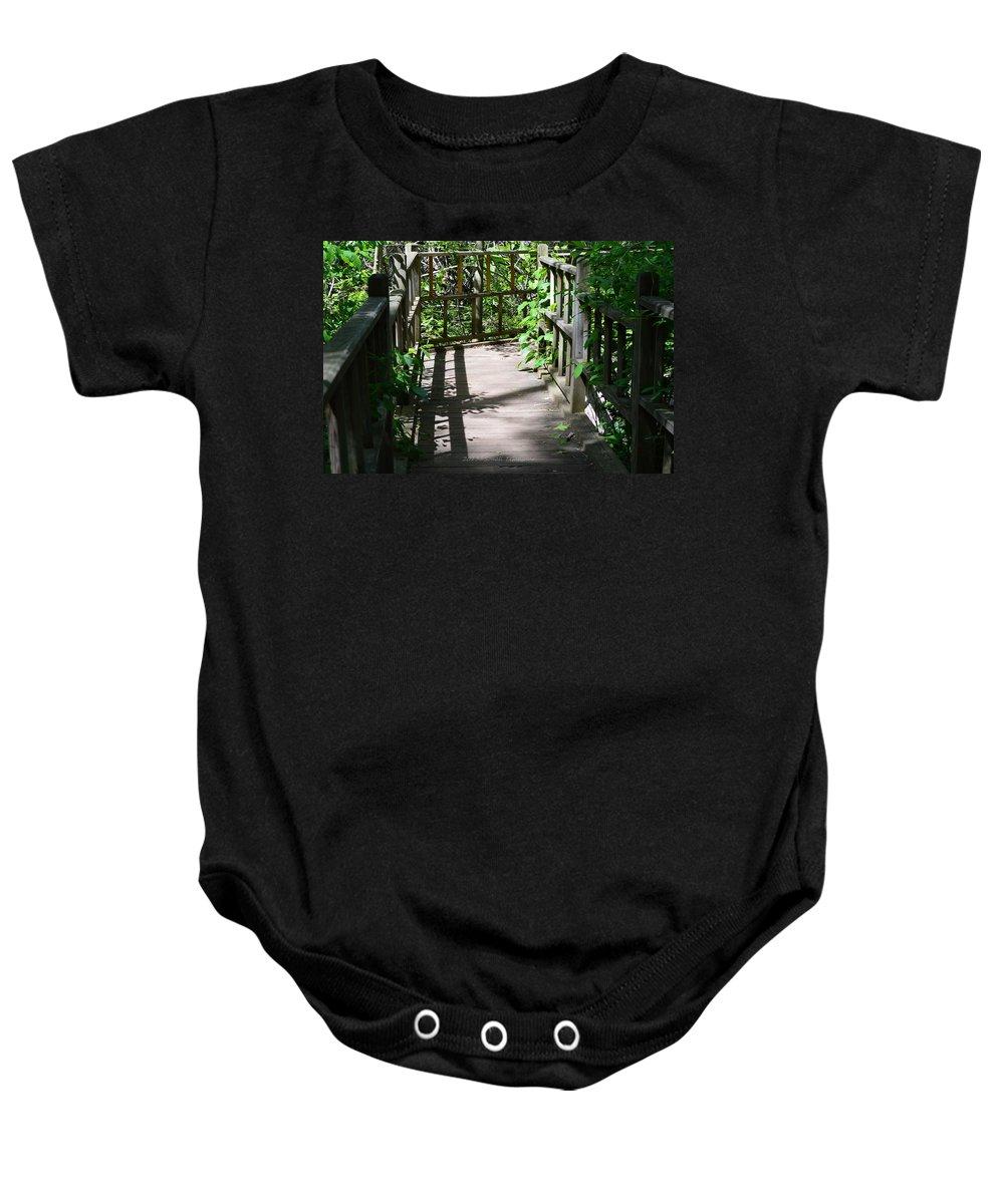 Bridge In Woods Baby Onesie featuring the photograph Bridge In Woods by Sonali Gangane