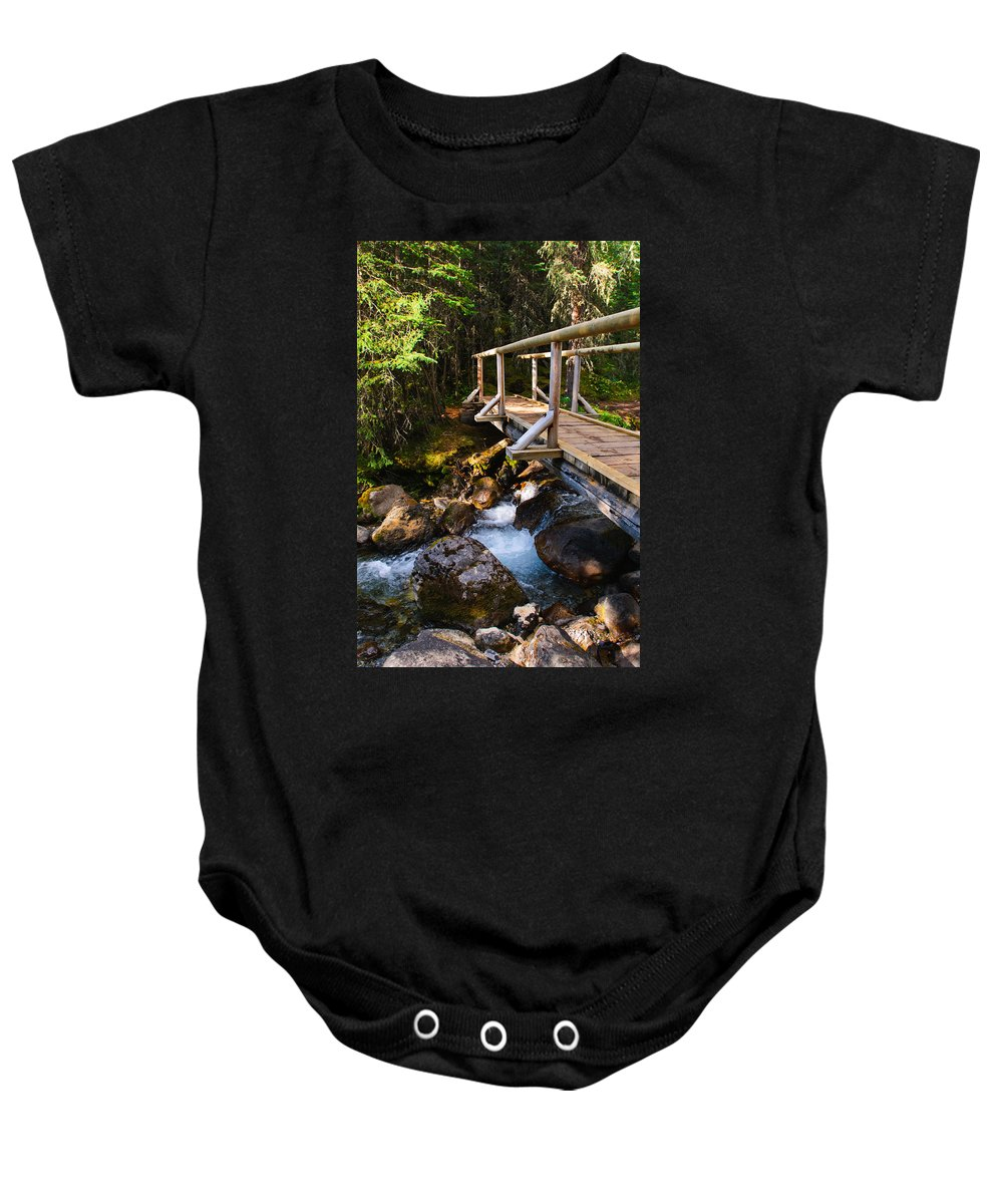 Galatea Baby Onesie featuring the photograph Bridge Over A Mountain Stream by Brandon Smith