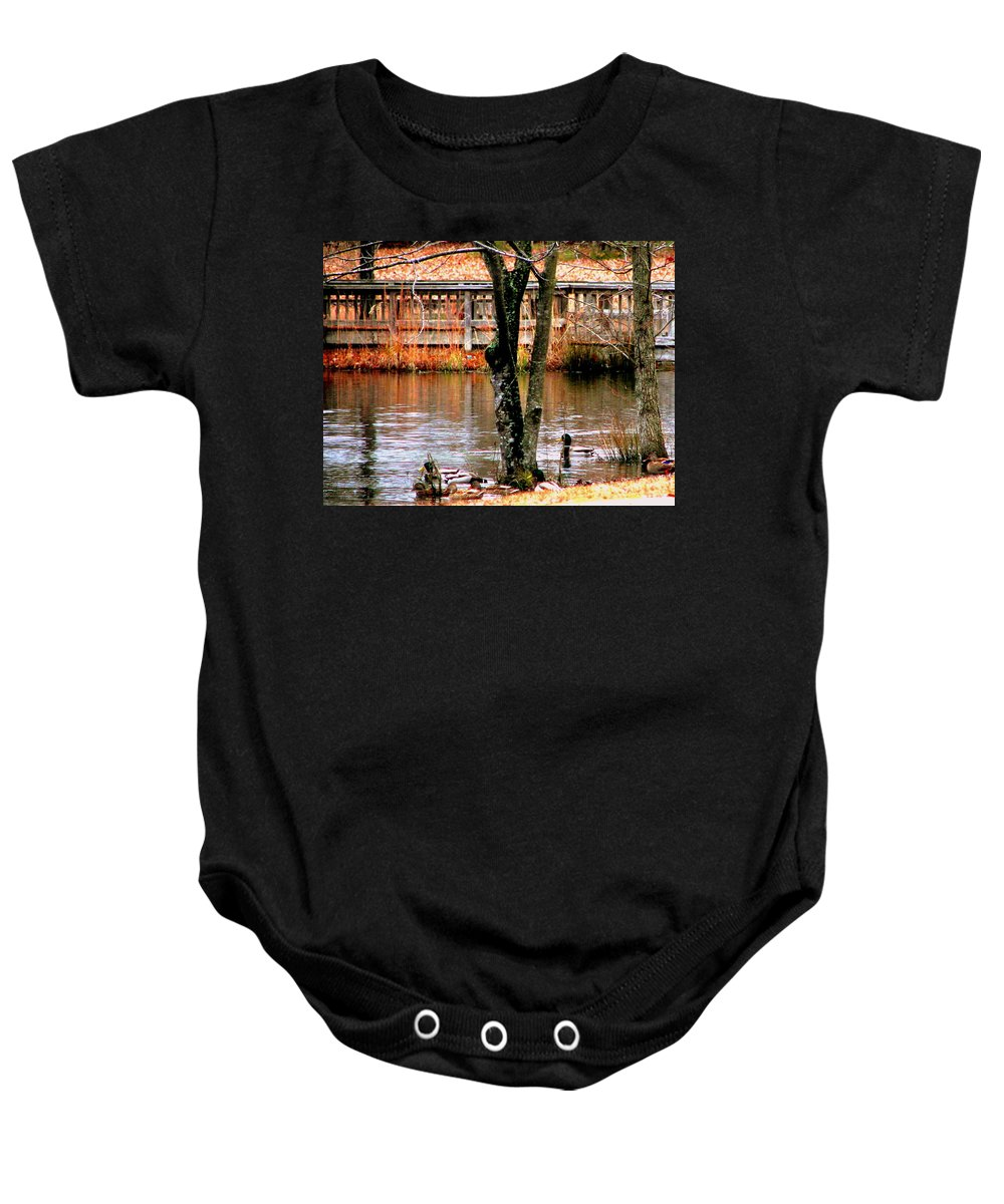 Duck Baby Onesie featuring the photograph Bridge Spanning Pond by Pamela Hyde Wilson