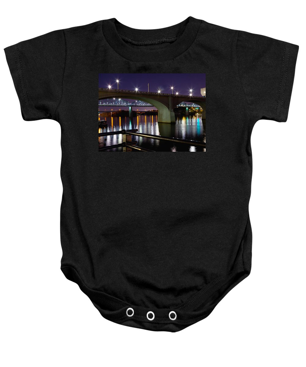 View Baby Onesie featuring the photograph Bridges At Night by Melinda Fawver
