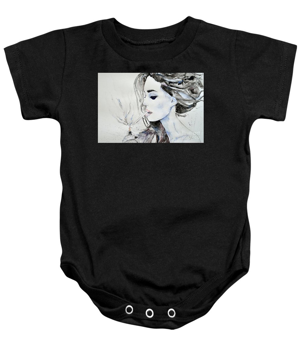 Brigitte Bardot Baby Onesie featuring the painting Brigitte Bardot by Ismeta Gruenwald