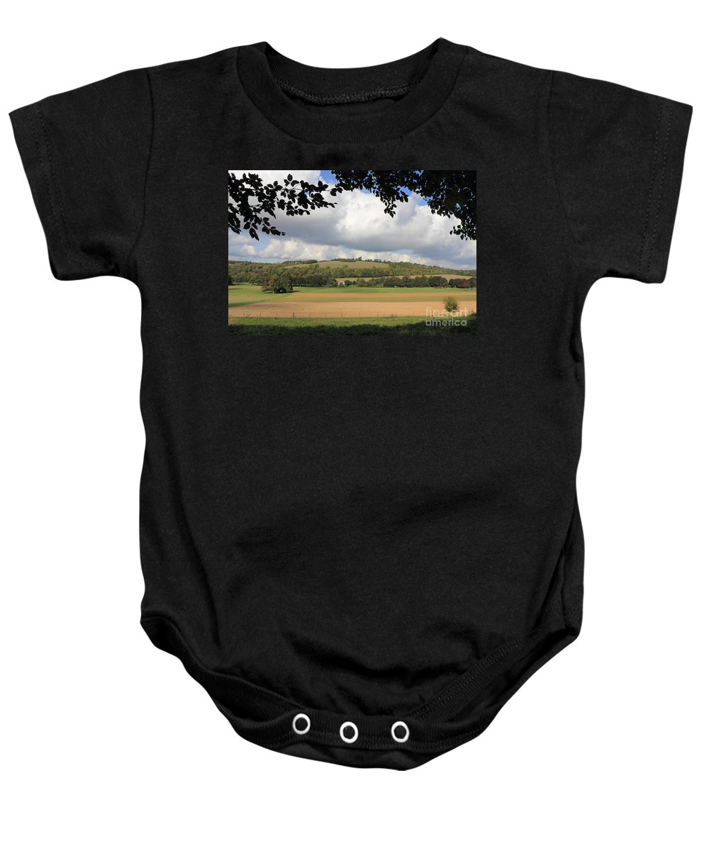 Traditional Countryside Landscape Sussex Uk Baby Onesie featuring the photograph British Countryside Sussex Uk by Julia Gavin