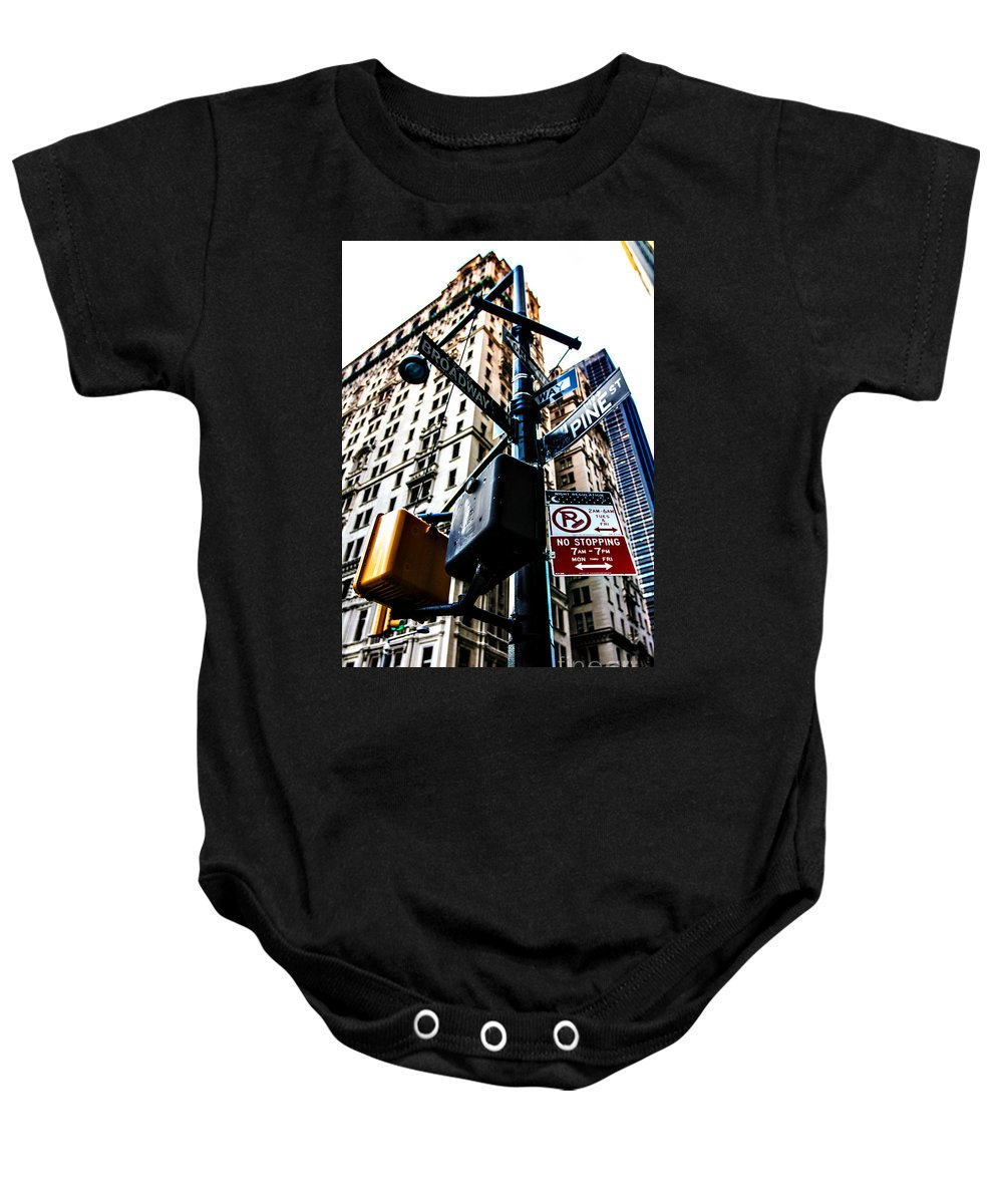 Streets Of New York Baby Onesie featuring the photograph Broadway And Pine by Digital Kulprits