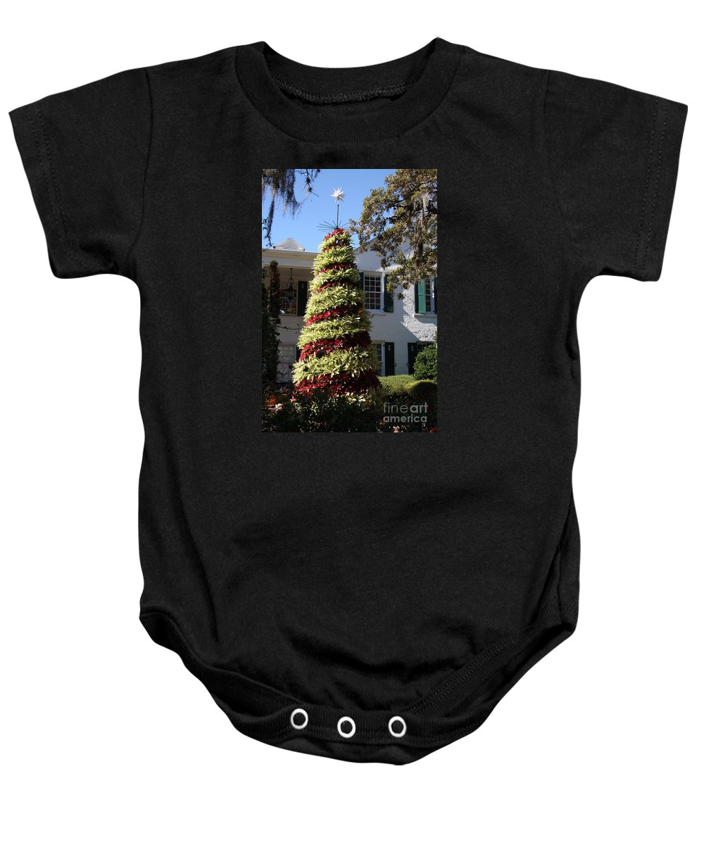Tree Baby Onesie featuring the photograph Bromelia Christmas Tree by Christiane Schulze Art And Photography