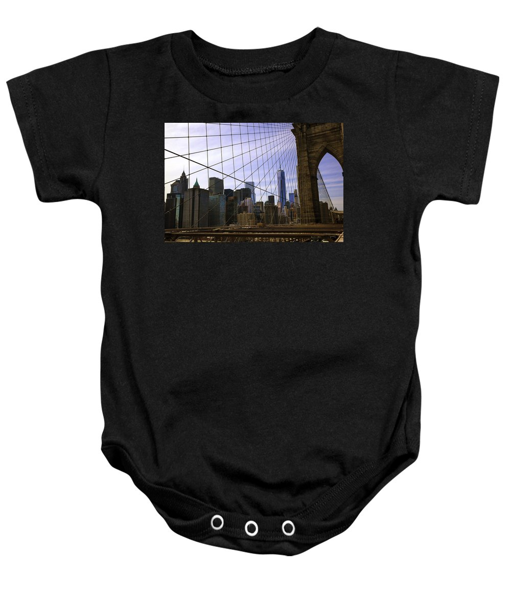 Brooklyn Baby Onesie featuring the photograph Brooklyn Bridge View by Madeline Ellis