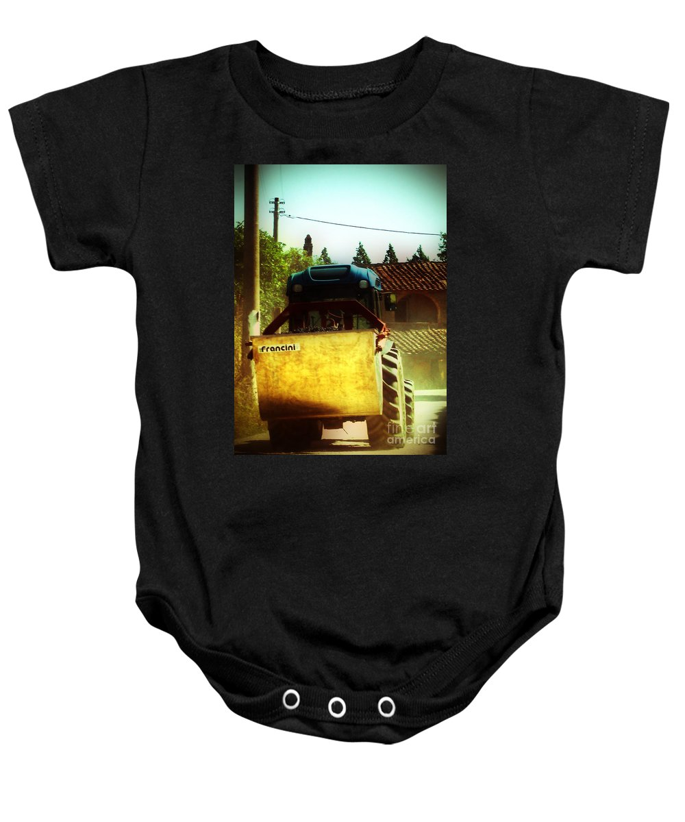 Brunello Baby Onesie featuring the photograph Brunello Taxi by Angela DeFrias