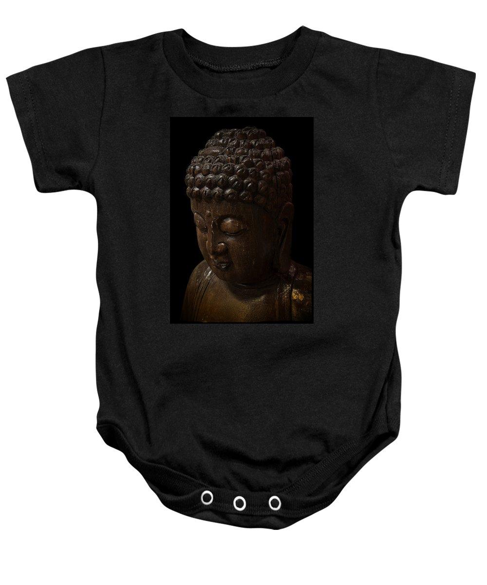 Buddha Baby Onesie featuring the digital art Buddha In The Dark by Daniel Hagerman