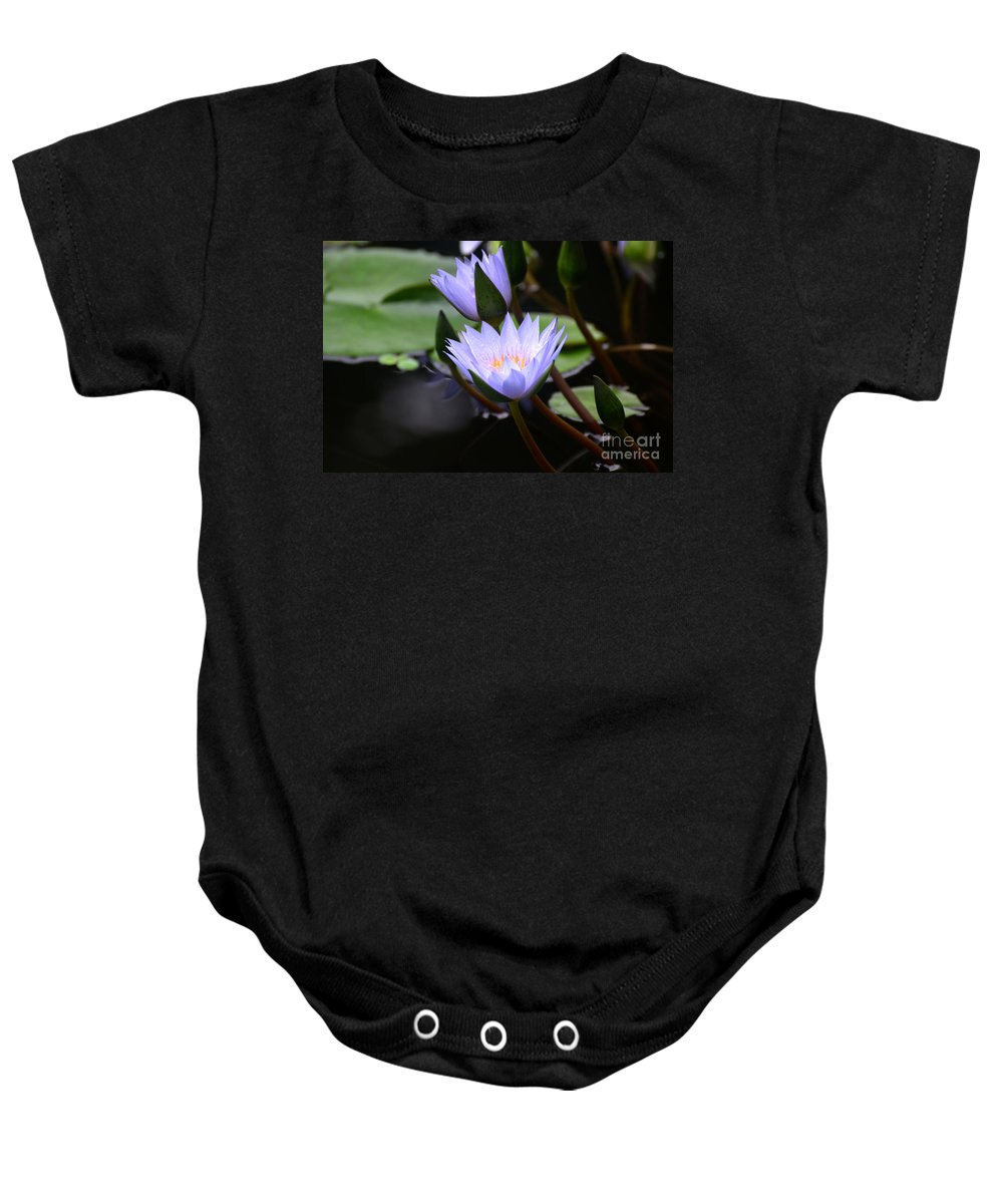 Water Lily Baby Onesie featuring the photograph Budding Purple Water Lilies by DejaVu Designs